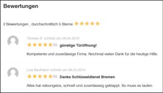 Bewertungen von Schlüsseldienst Bremen